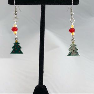 Handmade Christmas glass bead earrings